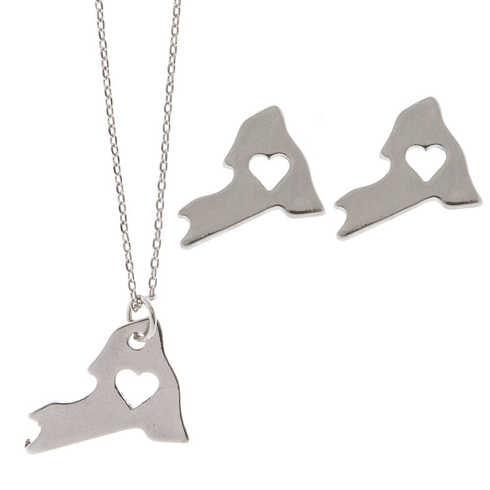 Silver State with Cut Out Heart Pendant and Stud Earrings Set - New York | Claire's