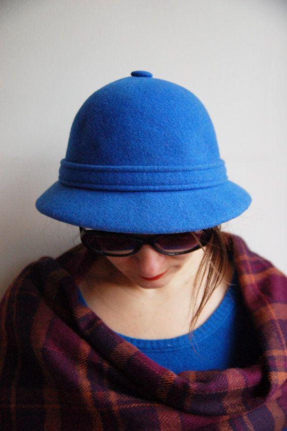 edb59c2969a Vintage wool blue indigo woman hat - winter red warm wool cap - blue bowler  hat - round fedora - formal hat - blue wool hat - 70 s hat