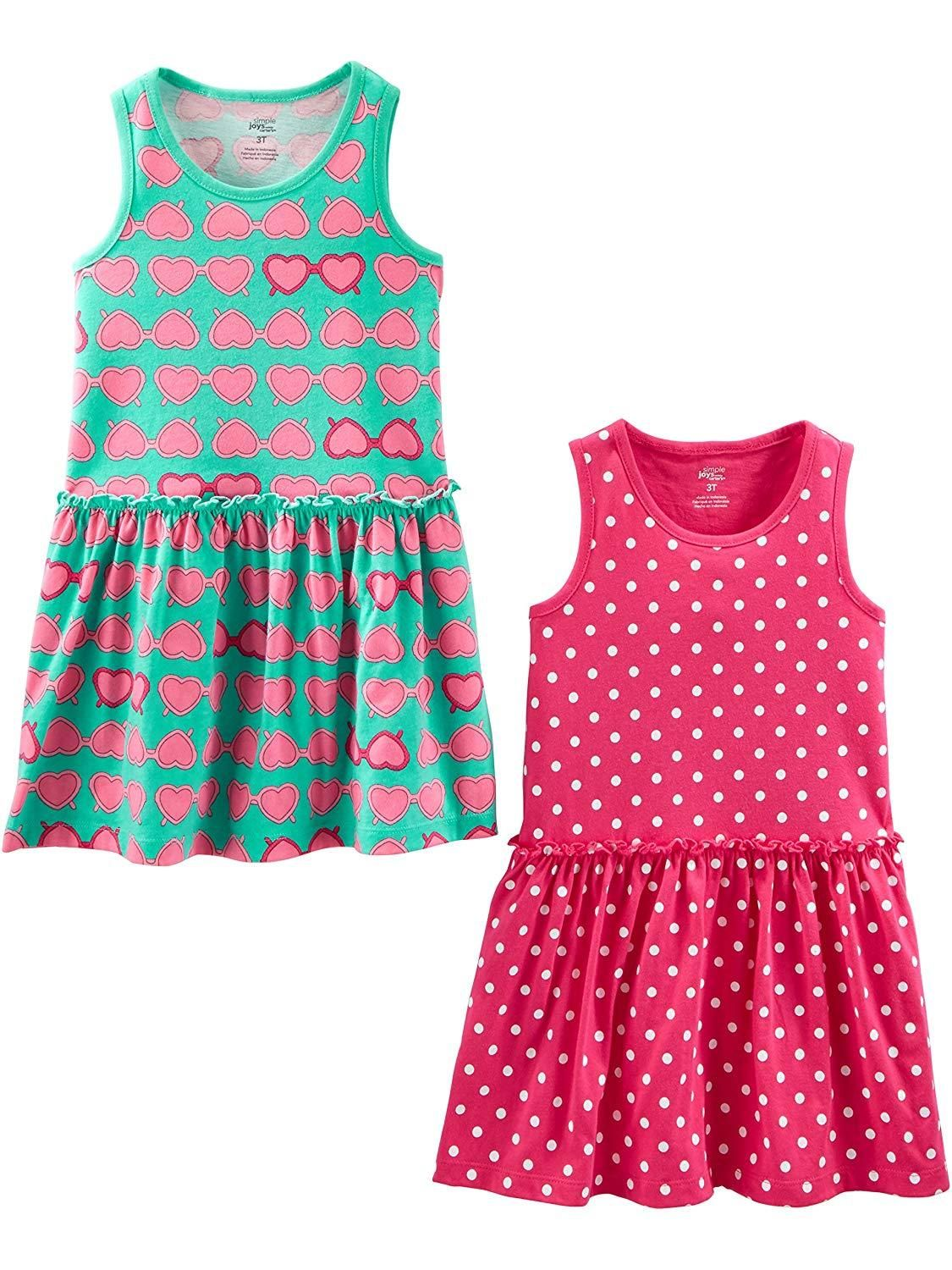 62b99431c44 Simple Joys by Carter's Girls' Baby and Toddler 2-Pack Short-Sleeve ...