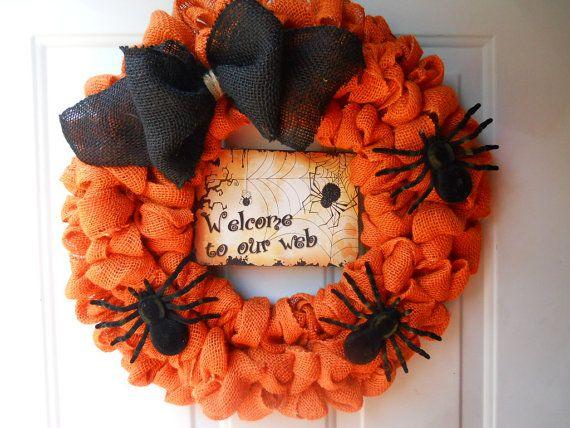 Orange Halloween Burlap wreath with Spiders by ChloesCraftCloset, $43.00