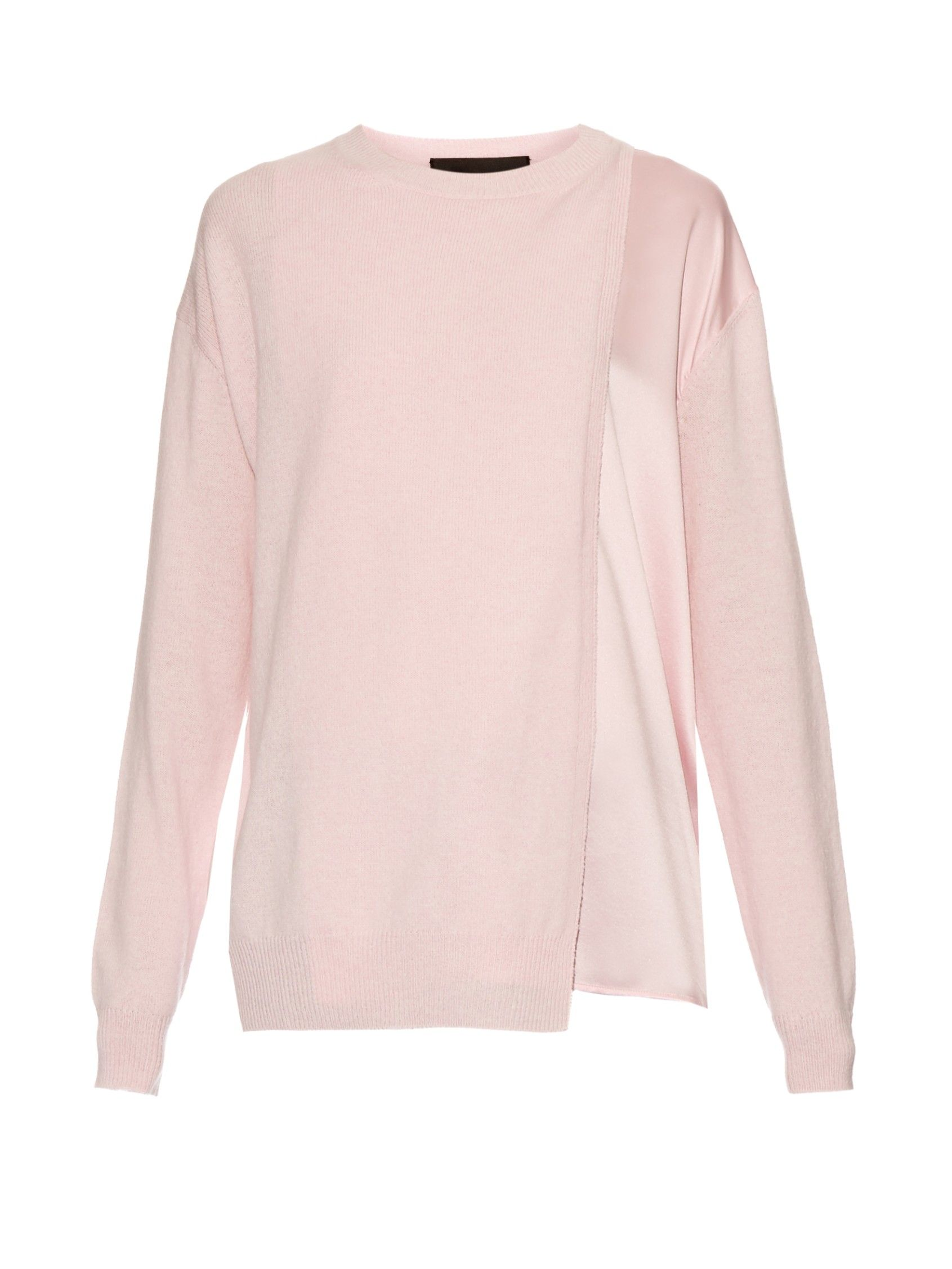 Haider Ackermann's light-pink Invidia sweater is crafted from an ultra-soft blend of fleece-wool and cashmere. It has a loose fit and contemporary crossover front with a slinky silk underlay. Offset the pretty vibe with a pair of the label's black leather trousers.