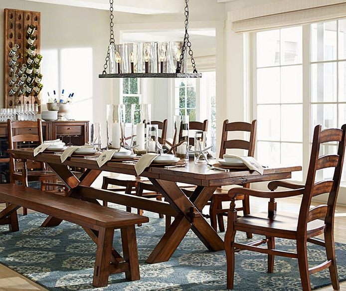 Traditional Dining Room With Rochester Linear Chandelier, Toscana Extending Dining  Table, WYNN LADDERBACK CHAIR