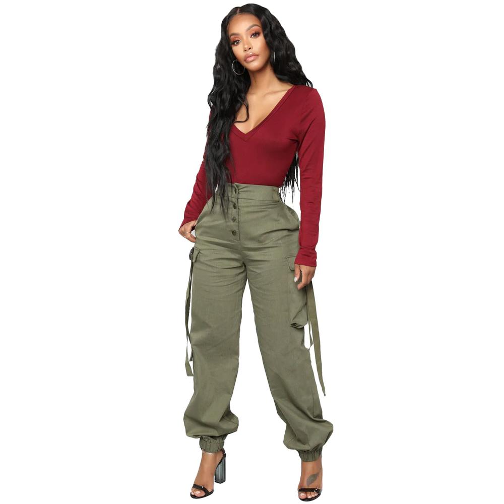 Pantalones Cargo Para Mujer Pantalones Anchos Verdes Sueltos Novedad De Primavera 2019 Pantalones Largos Con Cargo Pants Women Pants For Women Trendy Pants