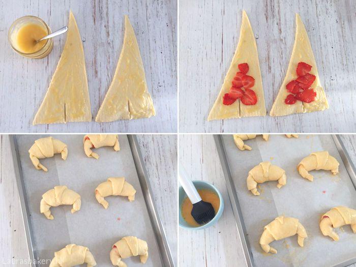 Aardbeien lemon curd croissants - Laura's Bakery