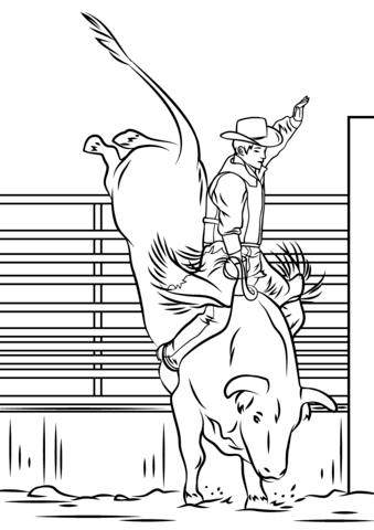 Bull Riding Rodeo Coloring Page Free Printable Coloring Pages Horse Coloring Pages Animal Coloring Pages Tooling Patterns