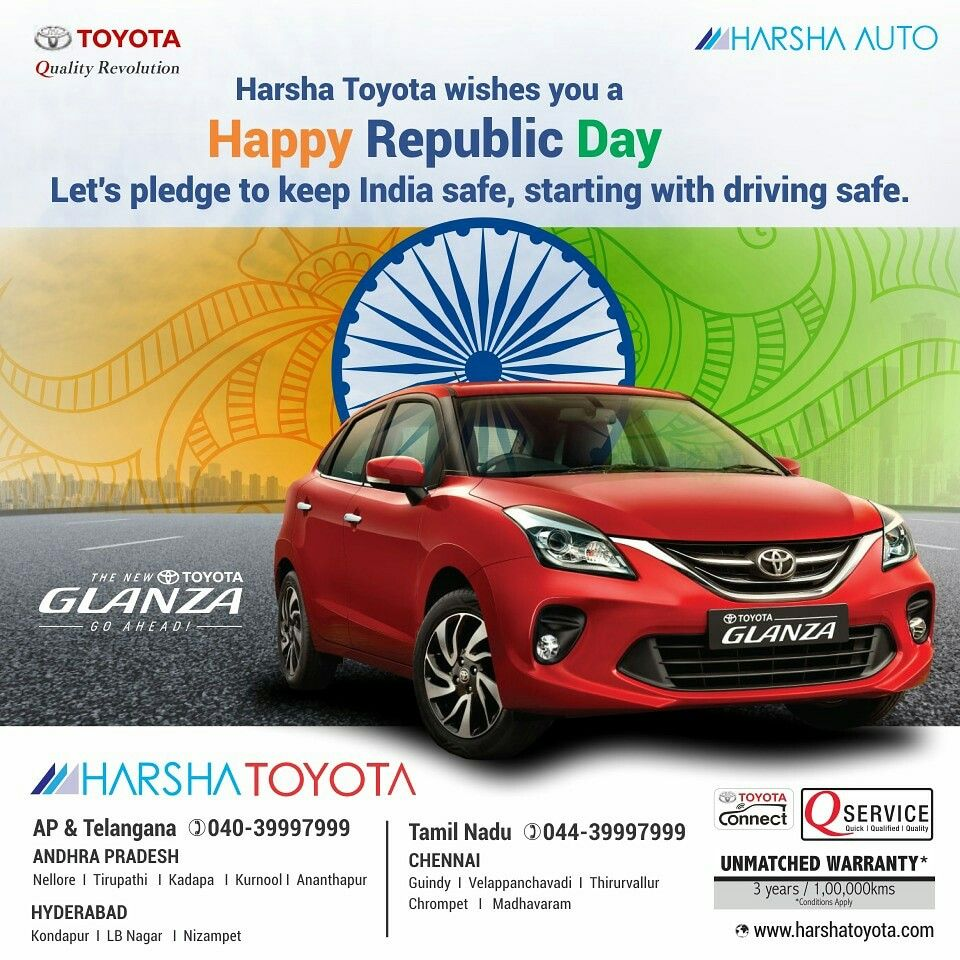 Harsha Toyota Wishes You A Happy Republic Day Let S Pledge To Keep India Safe Starting With Driving Safe Happyrepubli In 2020 Toyota Wish Republic Day Drive Safe