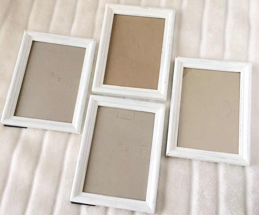 Matching White Wooden Pictures Frames Distressed 5x7 Painted Etsy Wooden Picture Frames Wooden Picture Frame