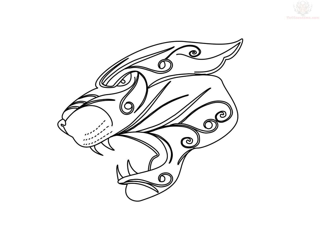 Tribal Jaguar Head Tattoo Design