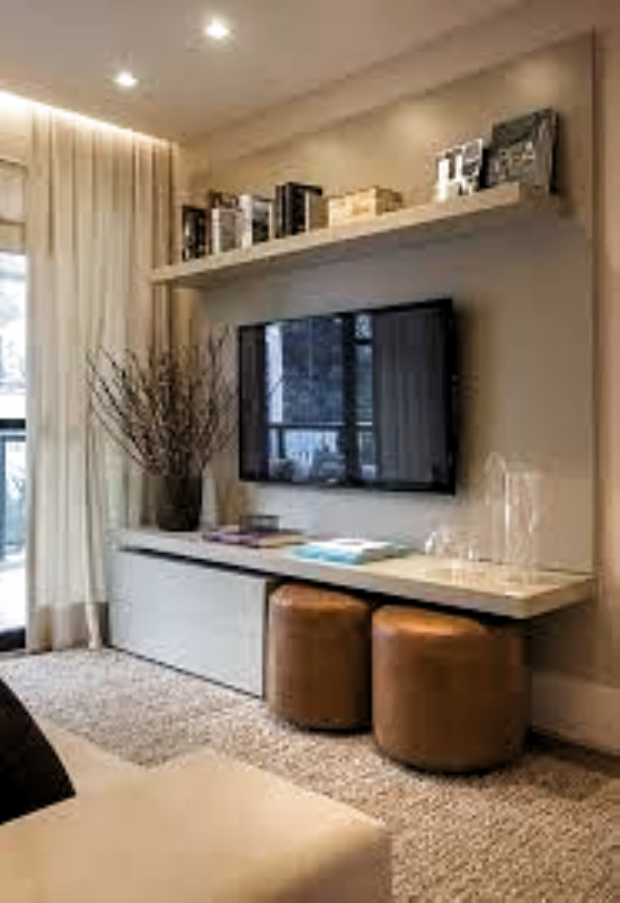 Decorating Around A Tv Console Decorating Around A Wall Mounted Tv How To Small Apartment Living Room Small Apartment Decorating Living Room Small Living Rooms