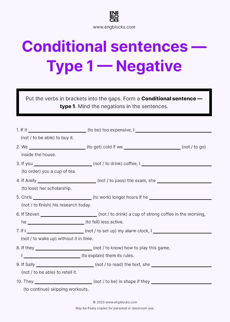 Conditional Sentence Type 1 Negative Worksheet English Grammar Of Sentences How To Put Paraphrase In A