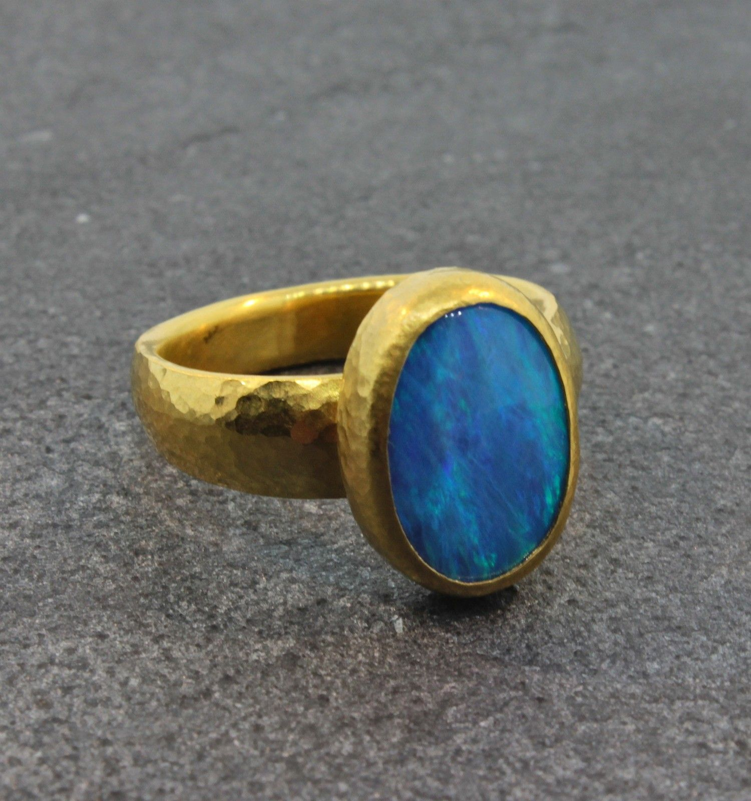 Gurhan 24k One-of-a-Kind Marquise Ring, Blue, Size 6.5