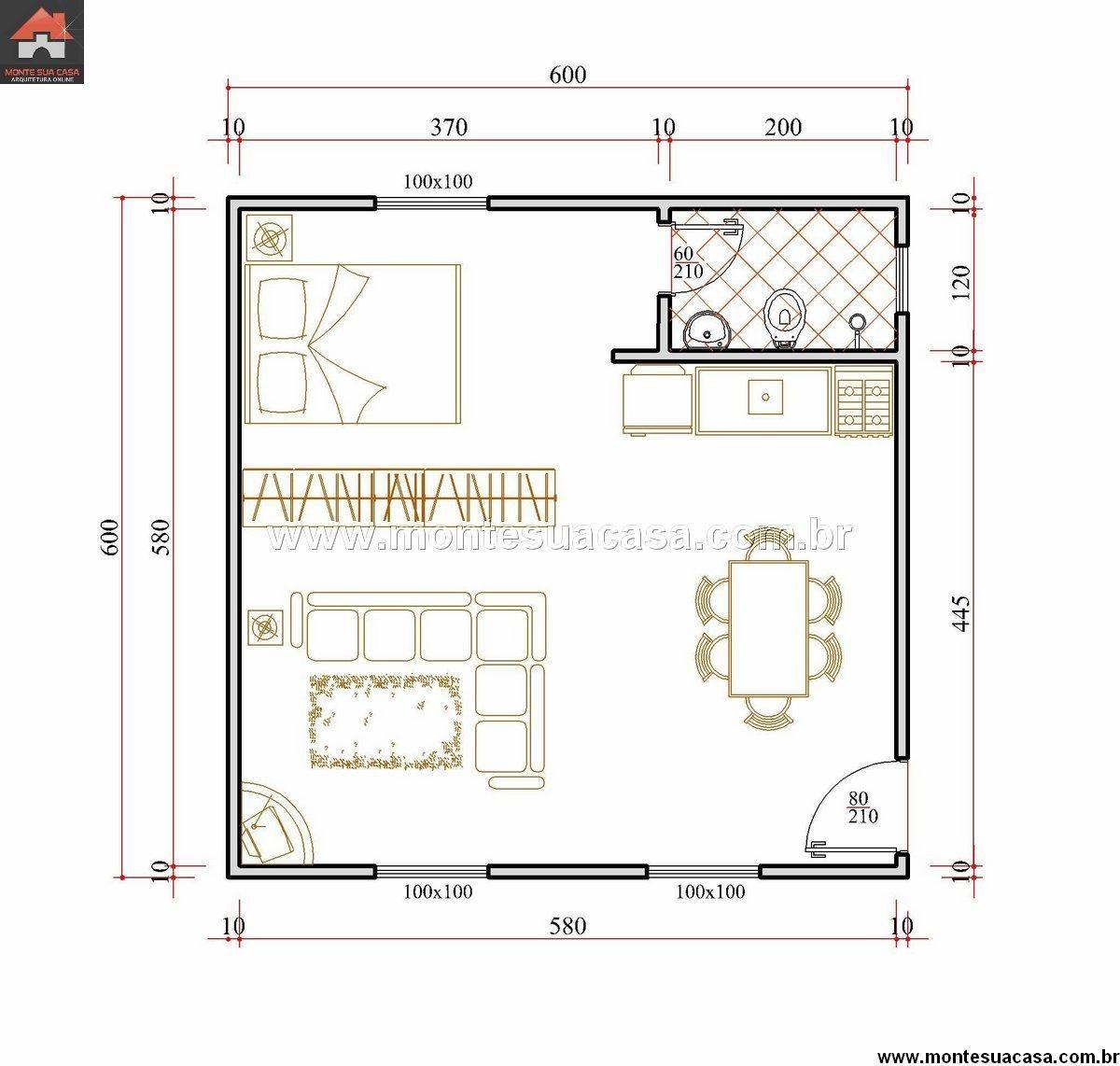 Plantas de casas 30 metros 1 dormitorio pesquisa google for Piscina 50 metros pontevedra