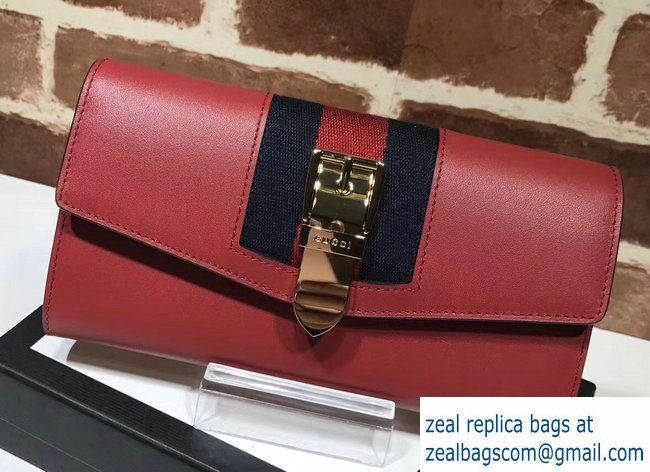 b727864eda8 Gucci Web Sylvie Leather Continental Wallet 476084 Red 2017