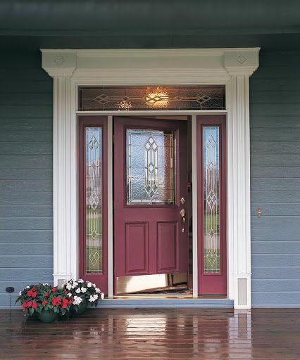 Beautiful Glass Wineberry Front Entry Door Painted Front Doors