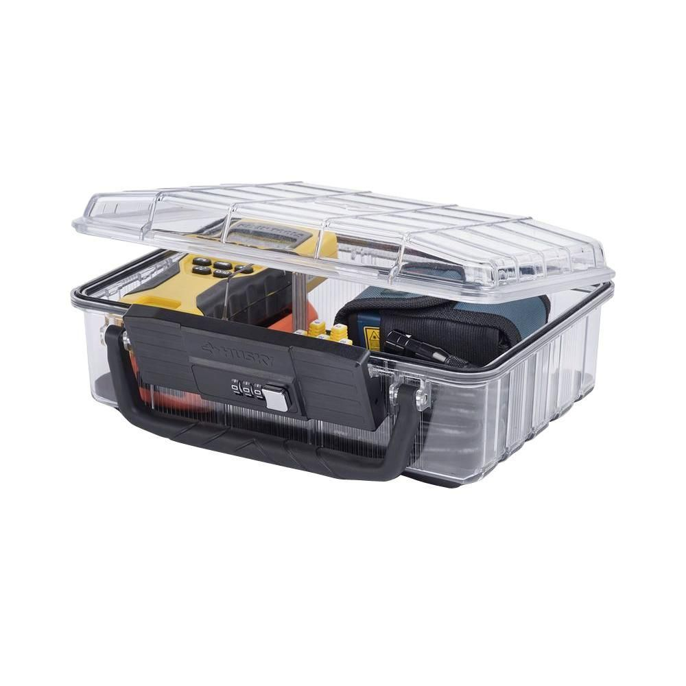 Husky 11 In 5 Compartment Polycarbonate Deep Storage Bin With