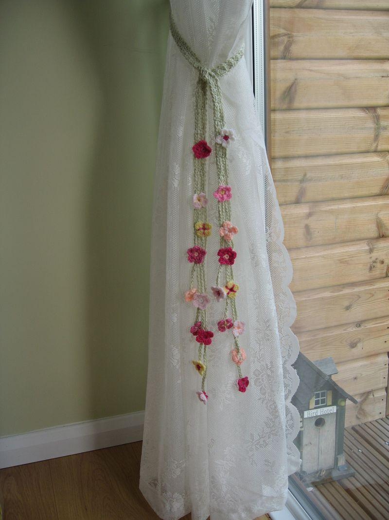 Cute Crocheted Flower Curtain Tie Backs Girls Room Crochet