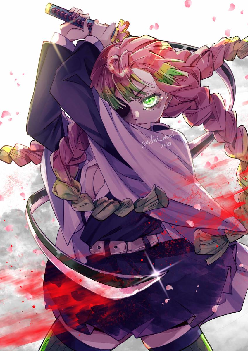 "Kanrojimitsuri Demon Slayer Kimetsu No Yaiba Kimetsunoyaiba Kanroji Mitsuri Pixiv Á‹ã'ã""いアニメガール Ƃªé""の絵アイデア ŏ¯æ""›ã""アニメガール She is also a demon slayer and the love hashira (恋 (こい) 柱 (ばしら) koi bashira?) of the demon slayer corps. pinterest"