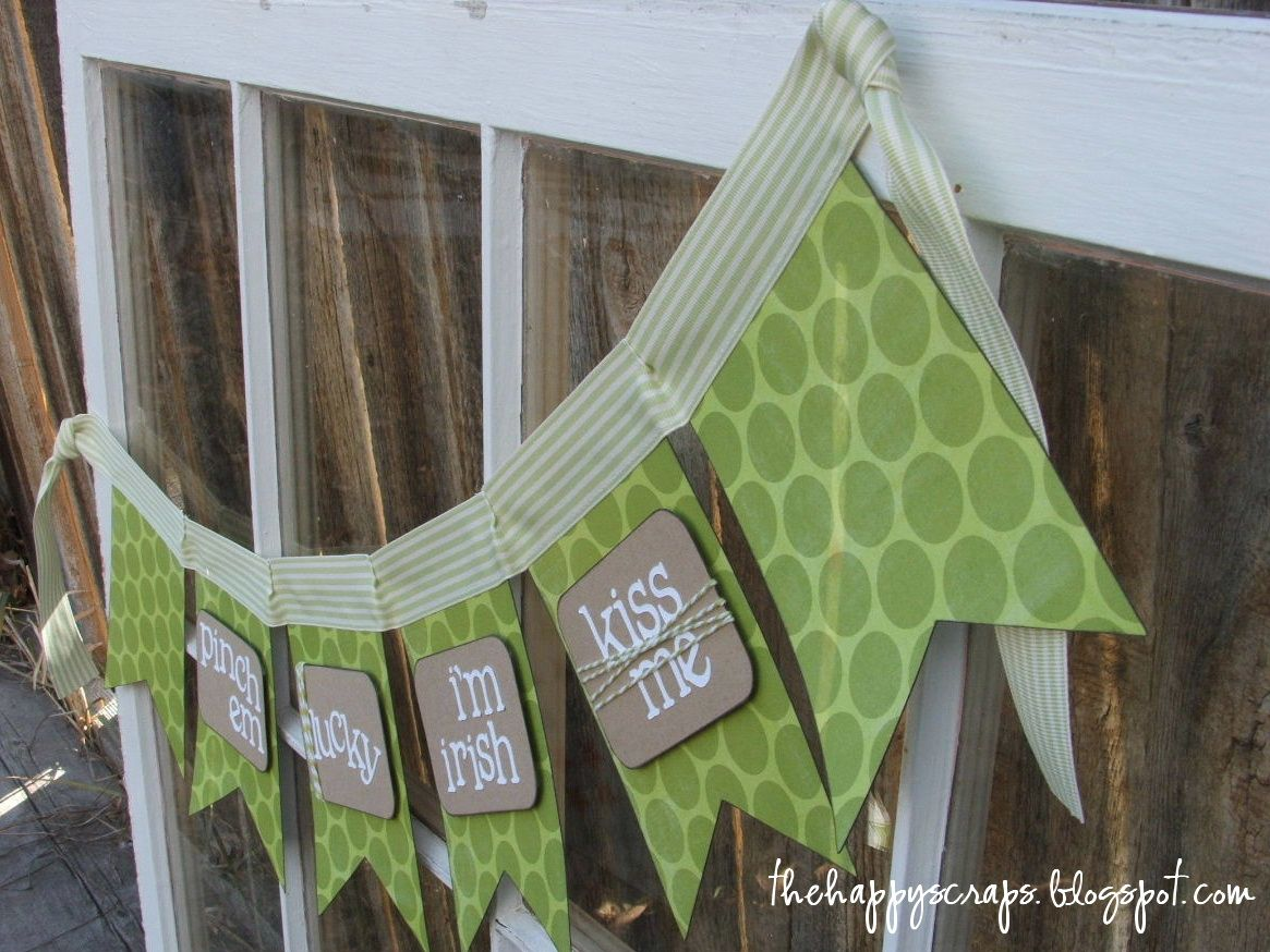 Fun St. Patrick's Day banner made using the Birthday Bash and Doodletype Cricut Cartridges. Find the project at www.thehappyscraps.com