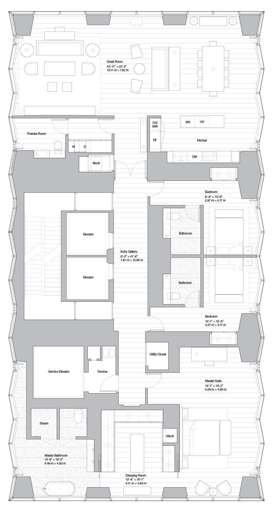Luxury Midtown Condos Lofts Penthouses For Sale 100e53 Residence 49a Nyc Apartment Luxury Floor Plans Apartment Floor Plan