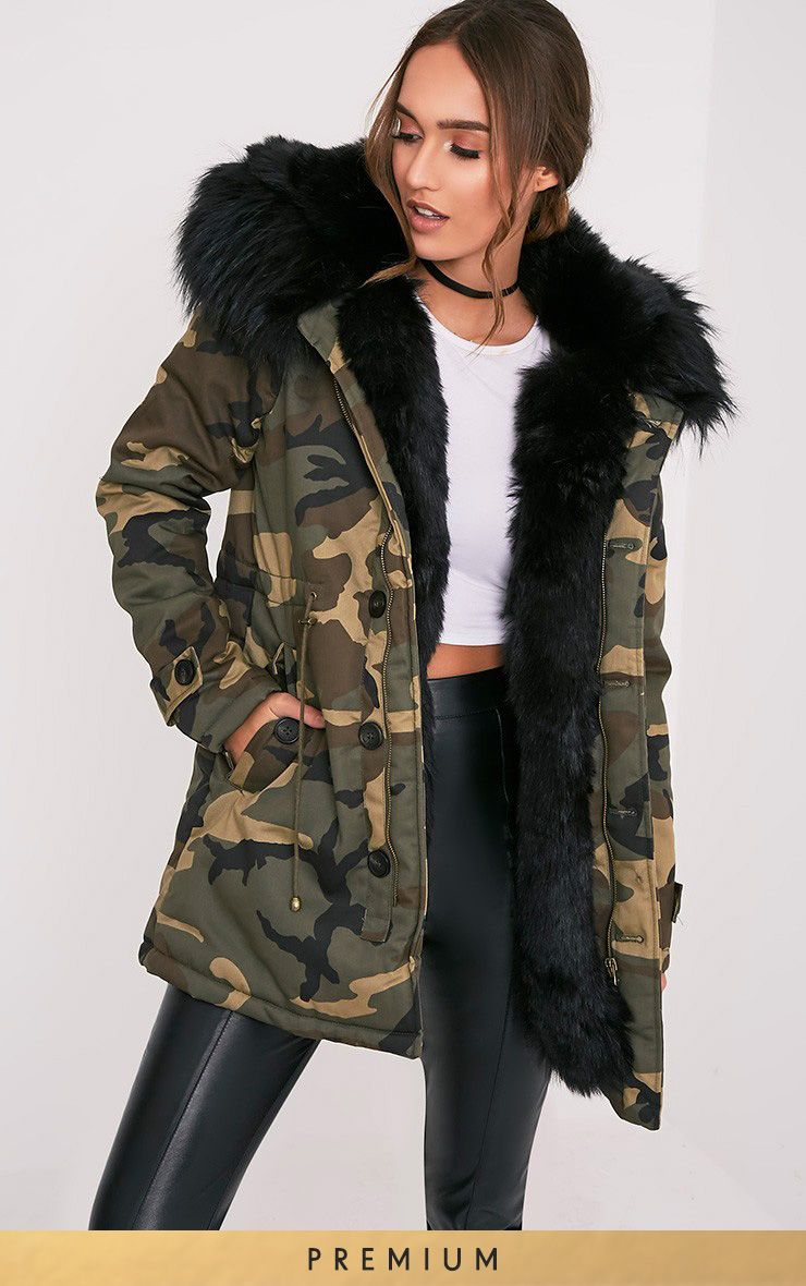 aabf8a561f0 Fliss Black Premium Camo Faux Fur Lined Parka. Fliss Black Premium Camo Faux  Fur Lined Parka Winter Jackets ...