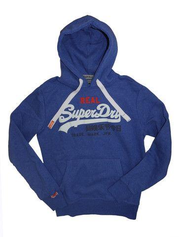 Superdry Vintage Logo Tri Entry Hoodie Dodger Blue Marl