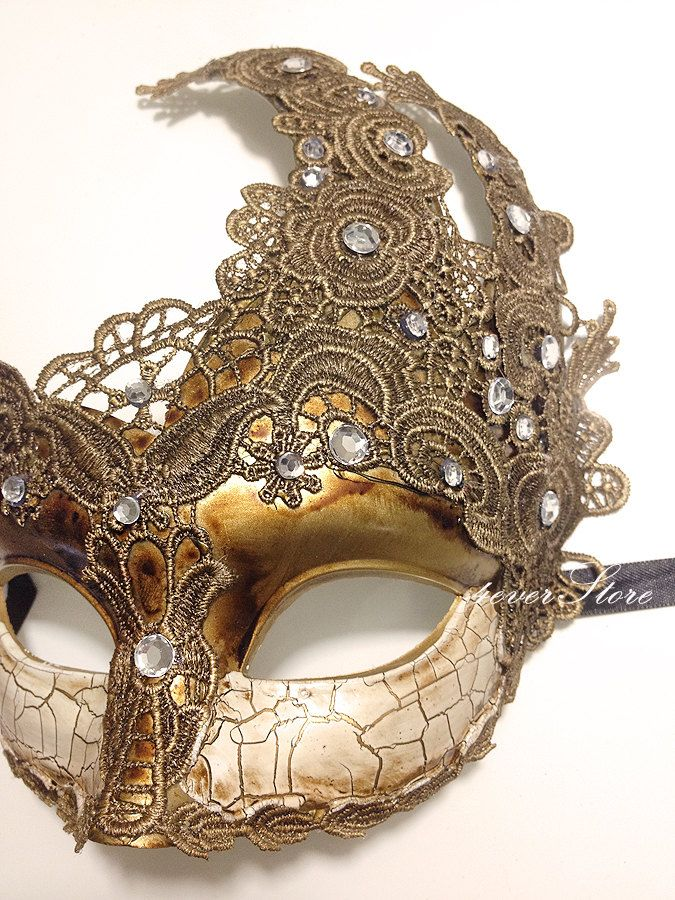 Venetian Goddess Brocade Lace Mask for Halloween Masquerade Party Cosplay Costum