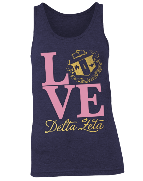 Delta Zeta Love Crest Tank by Adam Block Design | Custom Greek Apparel & Sorority Clothes | www.adamblockdesign.com