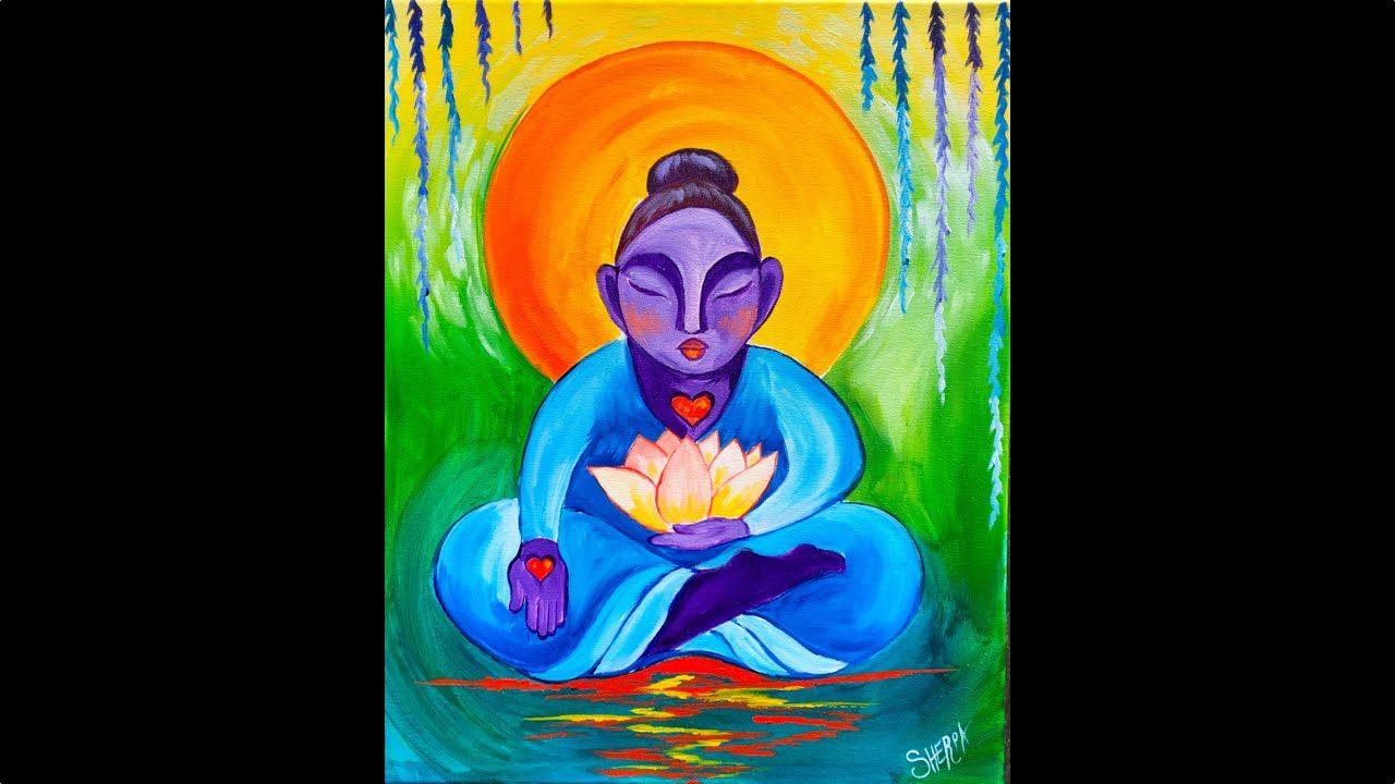 Easy How To Paint Buddha And Lotus Flower Beginner Acrylic Painting