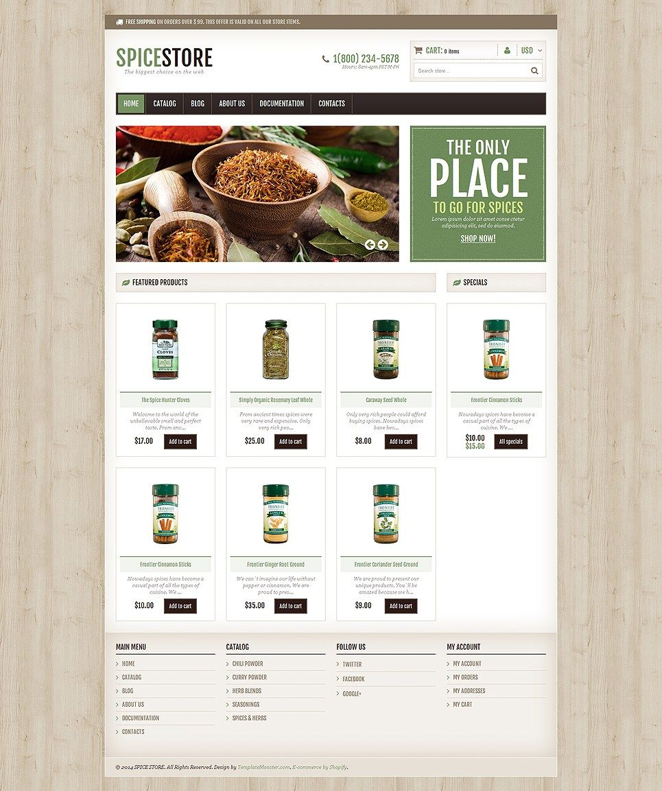 5 Stunning Website Themes For Selling Herbs And Spices On Shopify Buildify Prestashop Themes Ecommerce Website Template Spice Shop