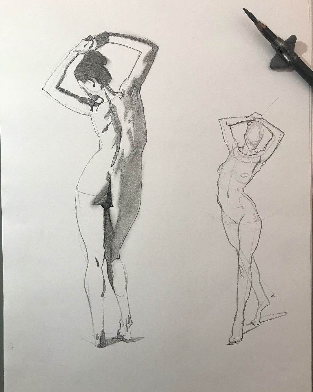 Figure drawing session from photo reference. Photo ref: proko.com ...