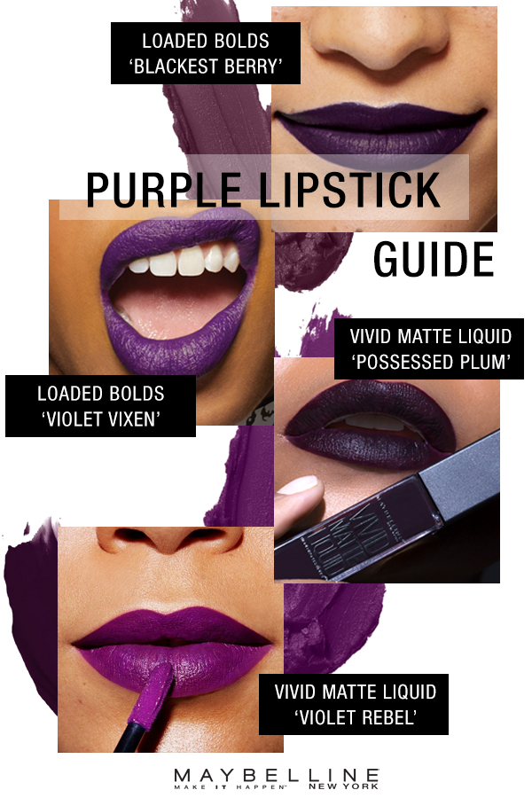 Just because it's starting to get cold out, doesn't mean you can't still rock a color on your lips! Purple lipstick is gorgeous for fall and you can go as vibrant or as vampy as you want.  Maybelline has purple lipsticks for every look this season in a creamy, opaque finish with the Color Sensational Loaded Bolds Lipsticks or a super hydrating, matte finish with the Color Sensational Vivid Matte Liquid Lipsticks.