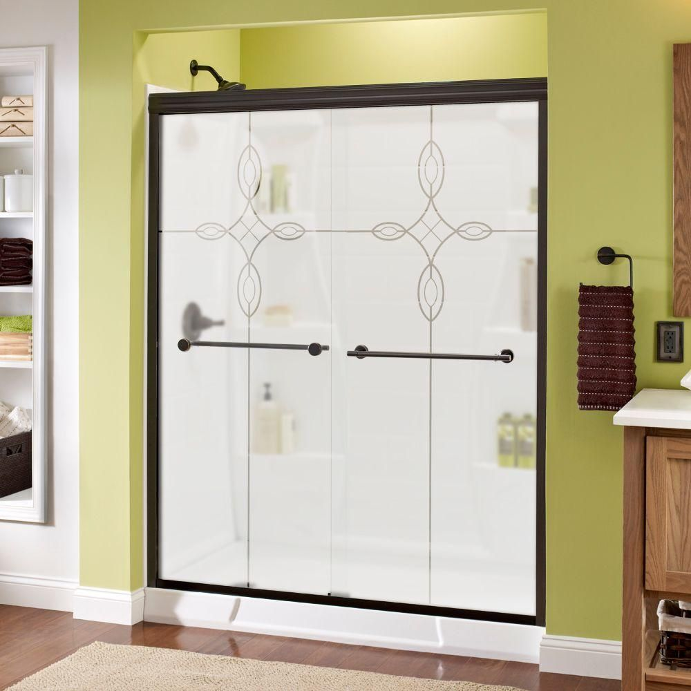 Delta Lyndall 60 in. x 70 in. Semi-Frameless Sliding Shower Door in Bronze with Tranquility Glass