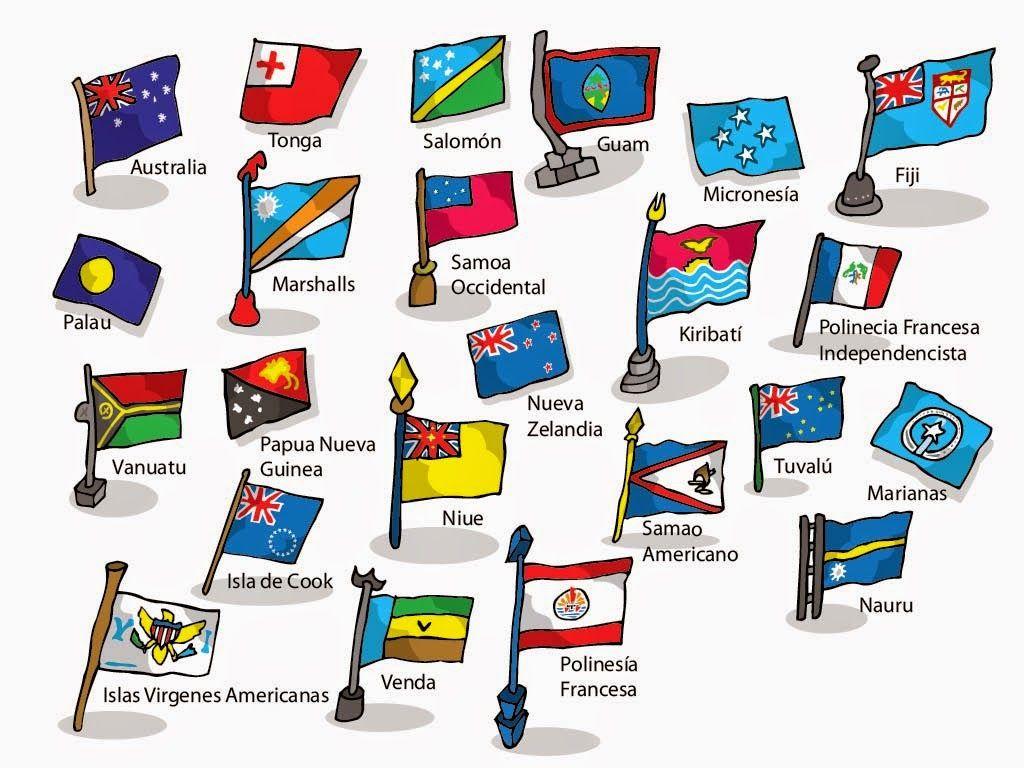 Vocabulario En Imágenes Maestra De Infantil Y Primaria Banderas De Oceanía Banderas Banderas Del Mundo Oceanía