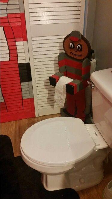 Handmade Wooden Ohio State Brutus Buckeye Toilet Paper