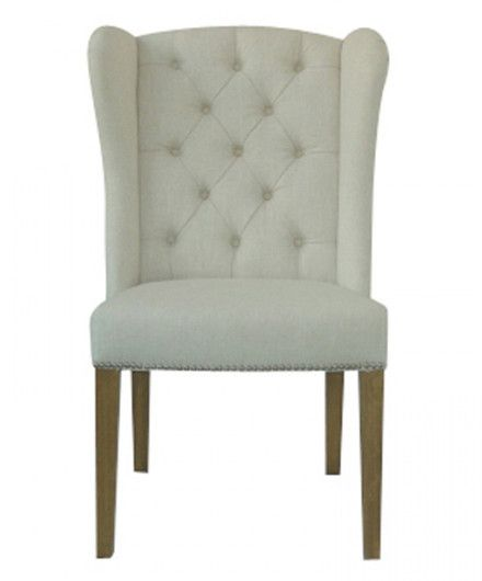 White Tufted Linen Side Chair   Accent Chairs   Shop Nectar