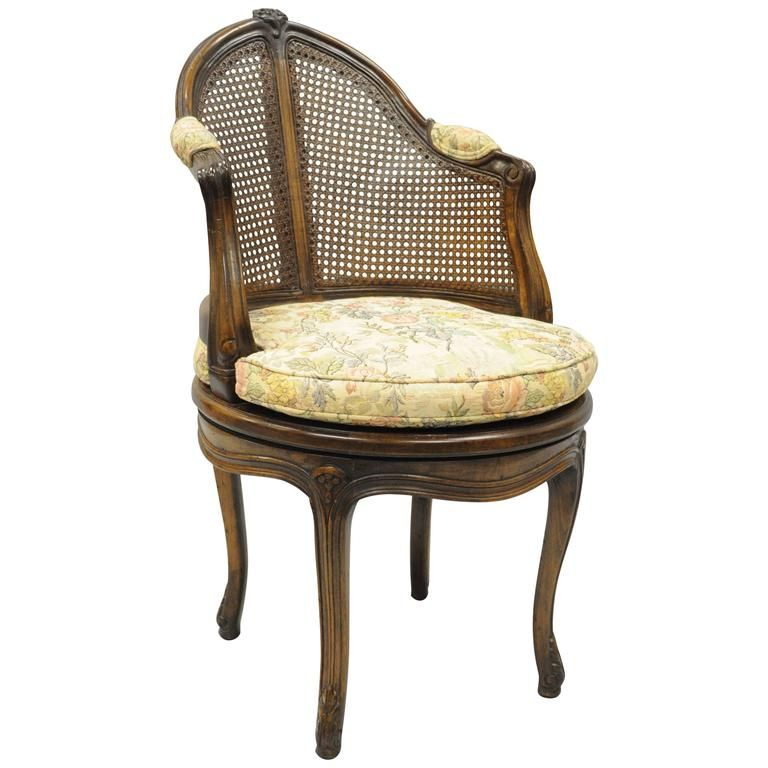 French Country Louis Xv Style Swivel Vanity Chair Cane Back Boudoir Seat Walnut 1 Vanity Chair Chair Leather Dining Chairs