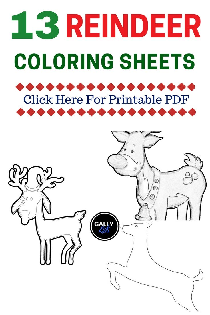 FREE PDF: 13 Christmas Reindeer Coloring Pages [Face, Antlers, Cute ...