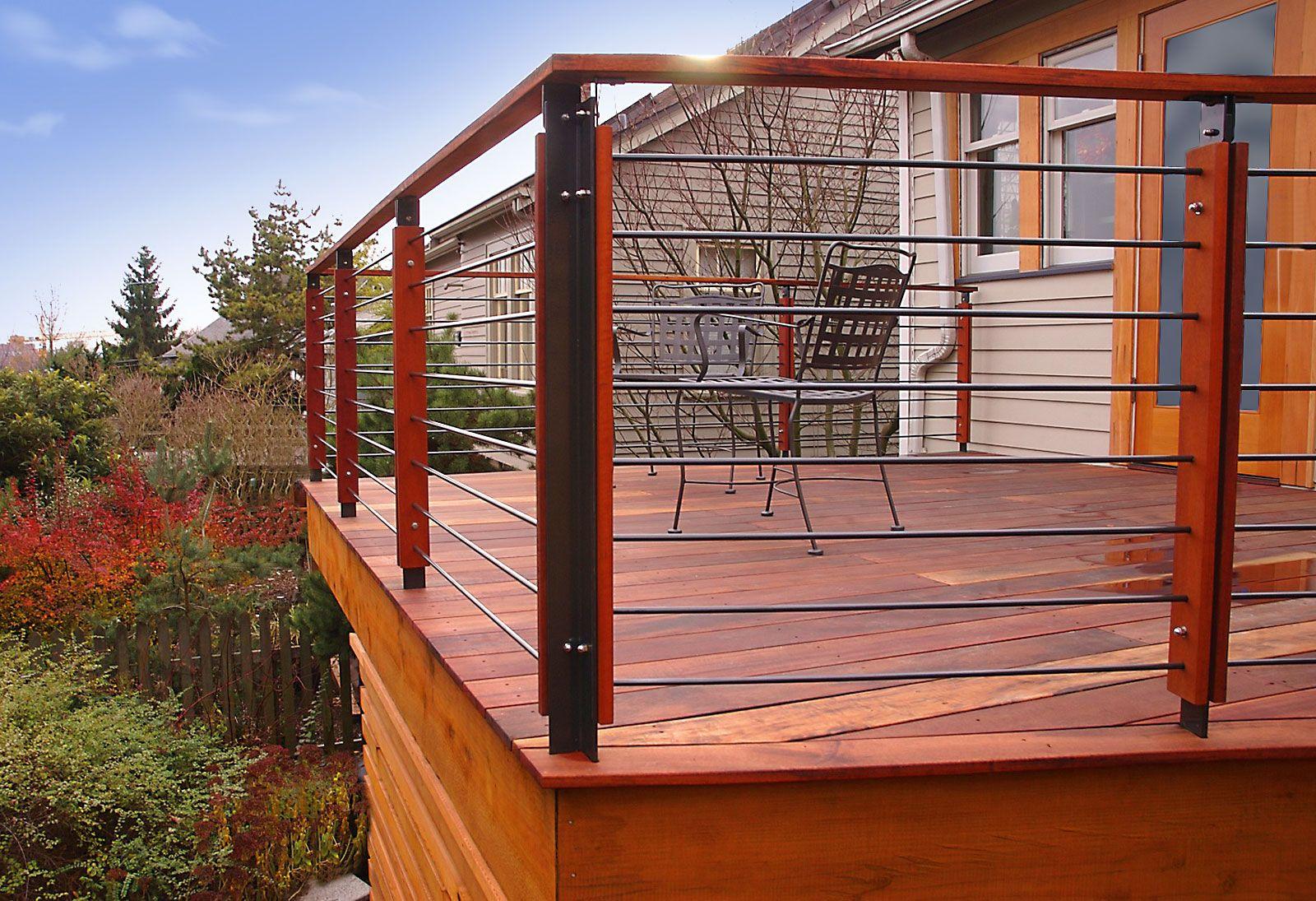 Minimalist deck railing | Patio railing, Deck railings, Deck