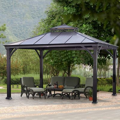 Sunjoy Kara Hardtop Gazebo 10x12 Hardtop Gazebo Backyard Gazebo Outdoor Patio