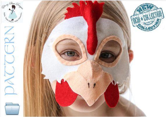 Chicken Mask PATTERN. Digital Sewing Pattern - Kids Chicken Costume ...