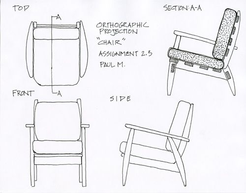 Chair Orthographic Bbaarchitecture Wikispaces Com Eldwin Timothi Kelompok 3 Drawing Furniture Orthographic Drawing Architecture Blueprints