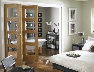 oak 4 light clear glass folding internal door interior doors savoy - Interior Doors With Glass