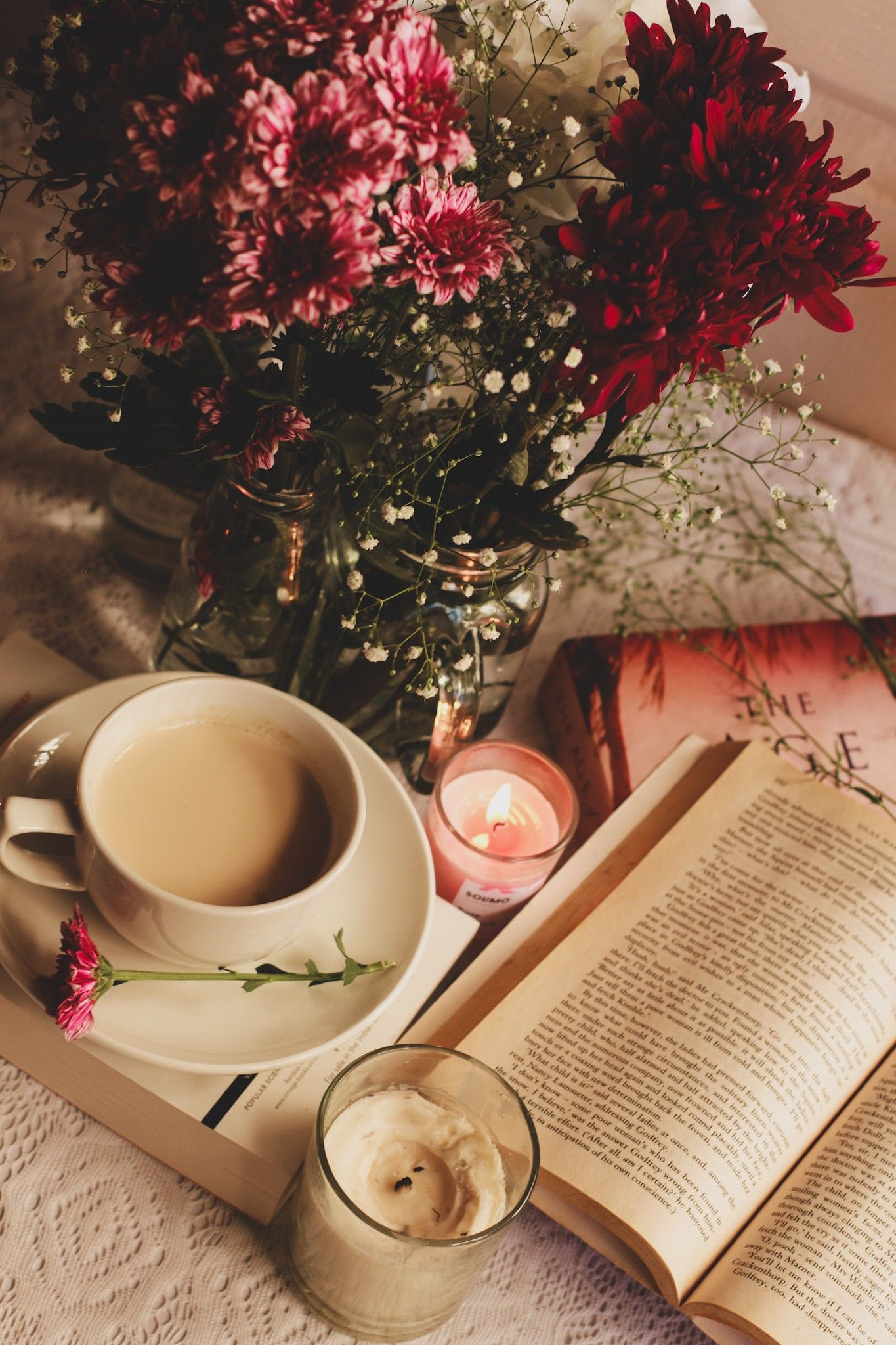 Spring Season Flowers Coffee And Books Book Flowers Coffee Photography