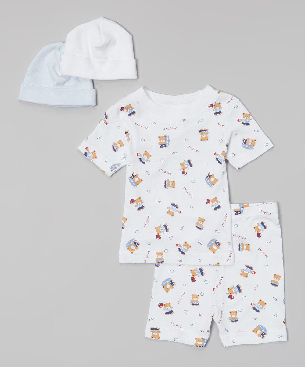 Bambini Layette White Teddy Bear Pajama Set | zulily