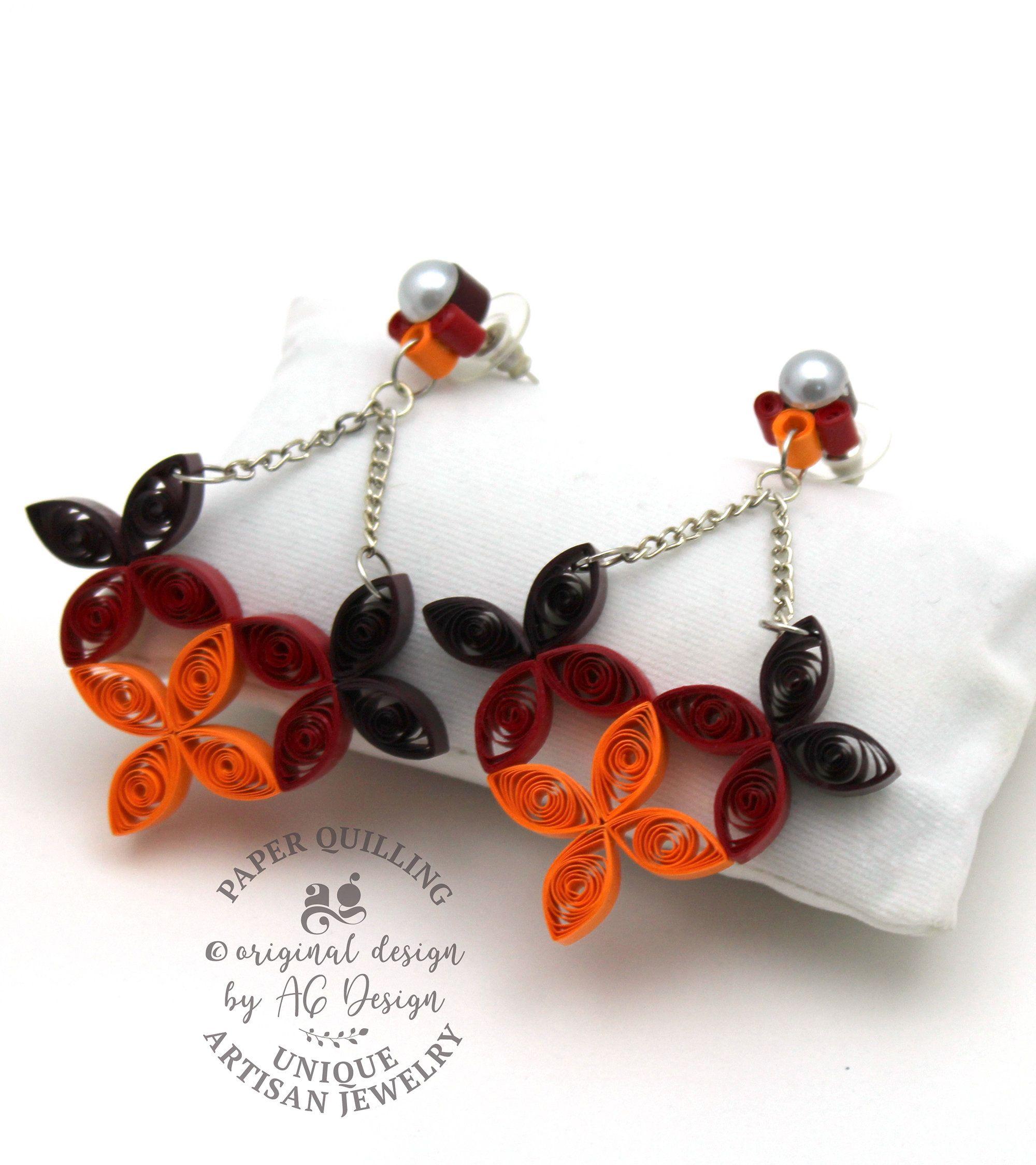 unique paper earrings handmade original
