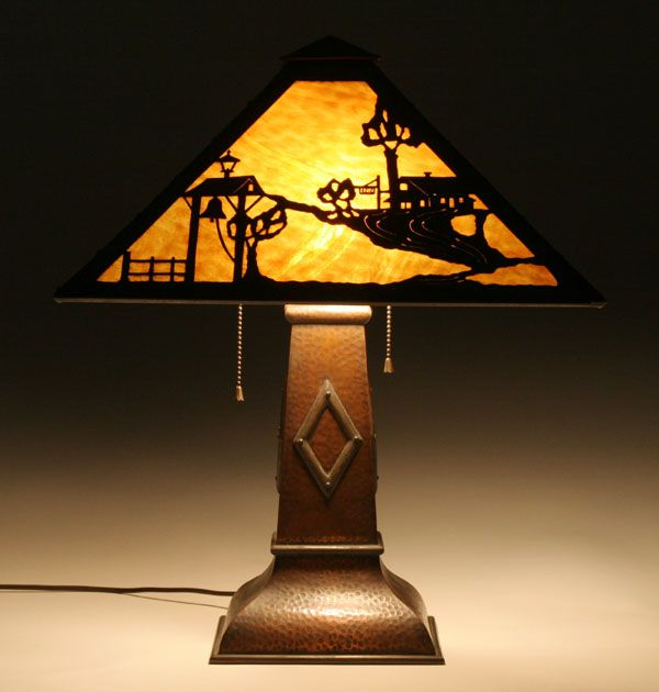 Stickley Brothers Arts And Crafts Table Lamp; Slag Glass Shade With Scenic  Copper Overlay Design
