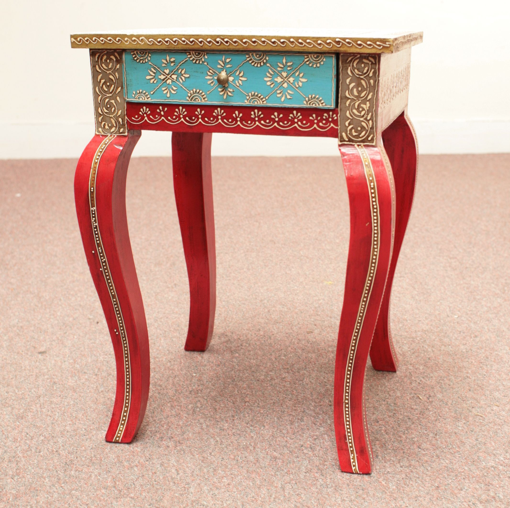 Painted Furniture From India | Indian Furniture  Handpainted Side Table Dsc0126