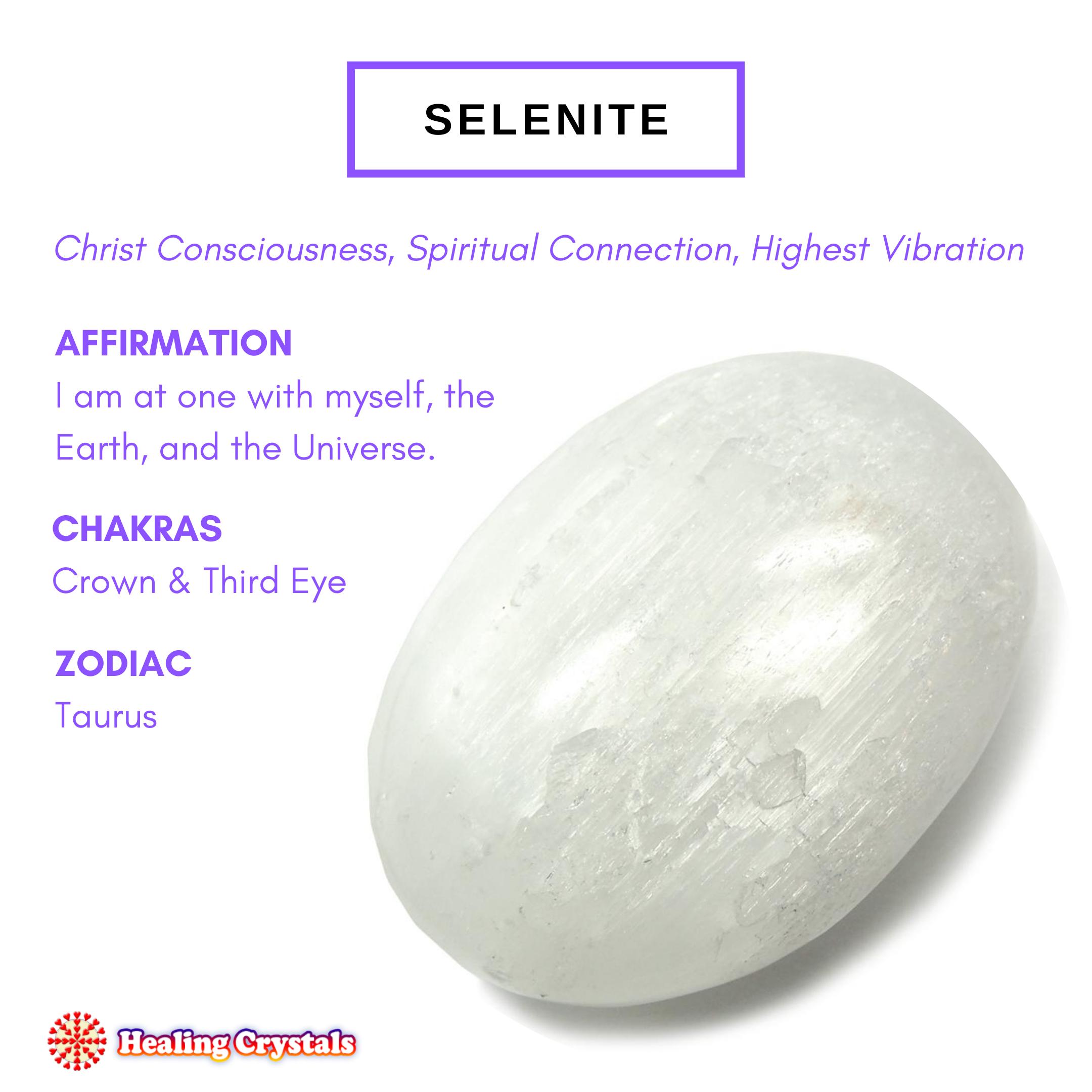 Selenite Satin Spar Summary Of Properties Chakras And Zodiac Sign Associations Spiritual Crystals Healing Rocks Crystal Healing Stones