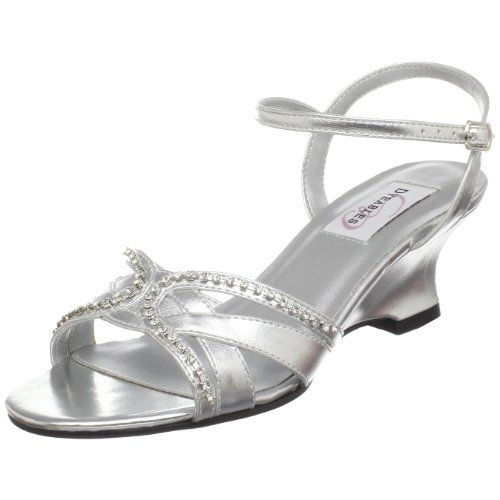 Dyeables Women's Peg Wedge Sandal,Silver Metallic,5 B US Dyeables,http: