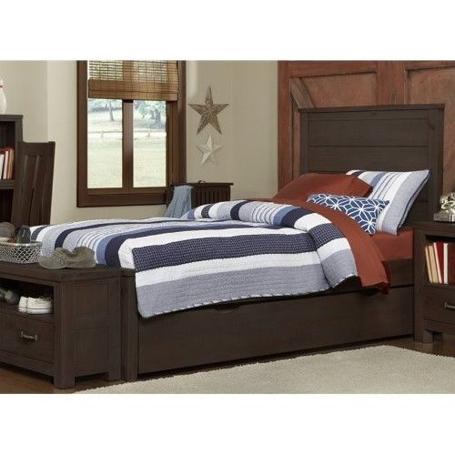 Best Rosebery Kids Twin Panel Bed With Trundle In Espresso 640 x 480